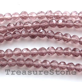 Bead, crystal, light purple, 4mm round, 14-inch