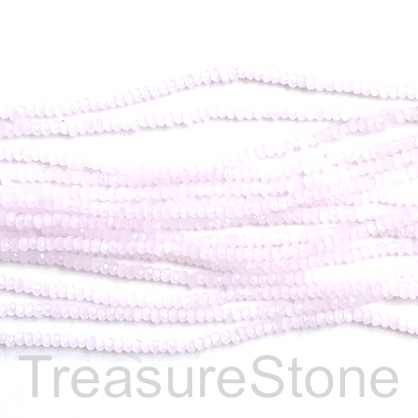 Bead, crystal, light pink, 1.5x2mm rondelle. 11.5""