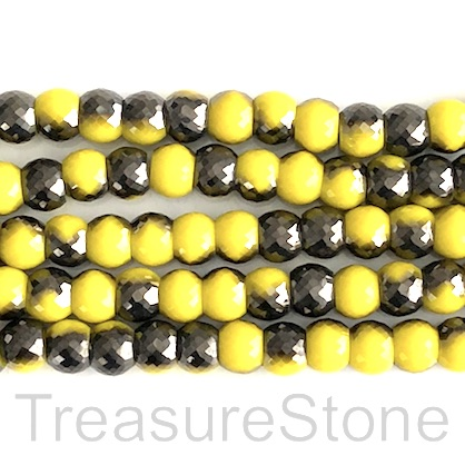Bead, crystal, lemon yellow, black, 7x8 faceted rondelle. 40pcs