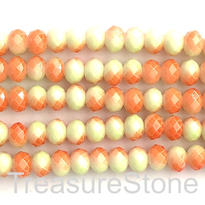 Bead, crystal, lemon yellow, orange, 6x8 faceted rondelle. 62pcs