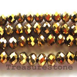 Bead, crystal, gold,4x6 faceted rondelle.17inch strand