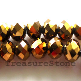 Bead, crystal, gold, 6x8 faceted rondelle.17inch strand
