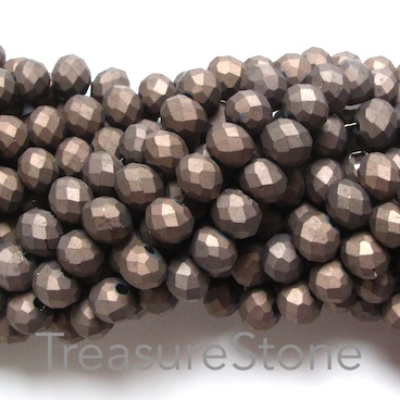 Bead, crystal, grey, matt, 6x8mm faceted rondelle. 17 inch