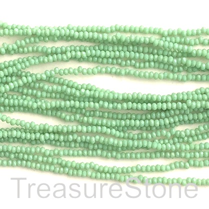 Bead, crystal, light green, 1.5x2mm rondelle. 12""