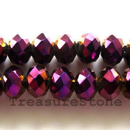 Bead, crystal,metallic pink, 6x8 faceted rondelle.17-inch strand