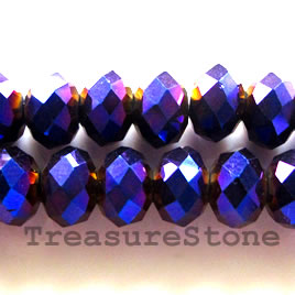 Bead, crystal, metallic purple, 5x8mm, faceted rondelle.17-inch
