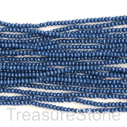 Bead, crystal, navy blue, 2x3mm faceted rondelle. 17 inch