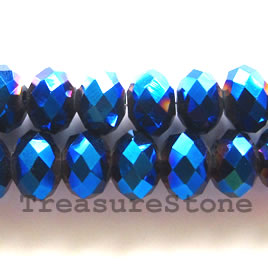 Bead,crystal, metallic blue, 4x6 faceted rondelle.17-inch strand