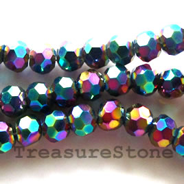 Crystal, Bead, black AB2X, 4mm faceted round. 14-inch strand