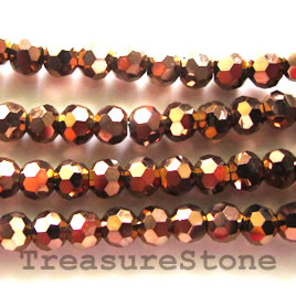 Bead, crystal, copper, 4mm faceted round. 15 inch strand