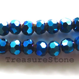 Bead, crystal, metallic blue, 4mm faceted round.14- inch strand
