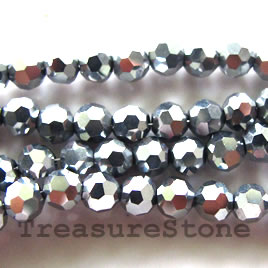 Bead, crystal, silver, 6mm faceted round. 21-inch strand