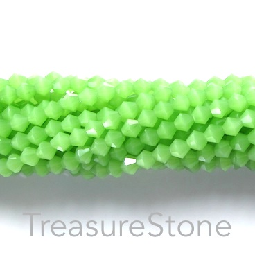 Bead, crystal, green, 4mm bicone. 18-inch strand