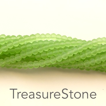 Bead, crystal, light green, matt, 3x4mm rondelle, 18-inch