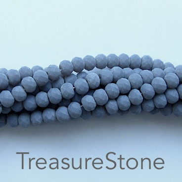 Bead, crystal, grey, matt, 3x4mm rondelle, 18-inch