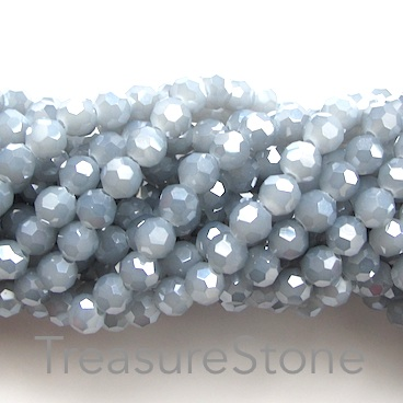 Bead, crystal, grey, 6mm round, 21 inch