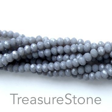 Bead, crystal, grey, 2x3mm faceted rondelle. 15 inch