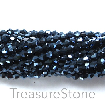 Bead, crystal, hematite, 4mm bicone, 17- inch