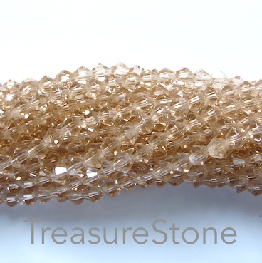 Bead, crystal, Light Colorado Topaz, 4mm bicone, 18 inch