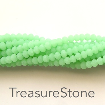 Bead, crystal, light green, matte, 3x4mm rondelle, 18-inch