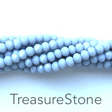 Bead, crystal, light grey, 3x4mm rondelle, 19-inch