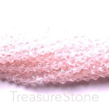 Bead, crystal, light rose, 4mm bicone. 17-inch strand