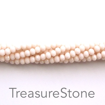 Bead, crystal, light rose, 3x4mm rondelle, 20-inch