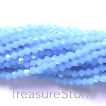 Bead, crystal, light sky blue, 4mm bicone. 19-inch strand