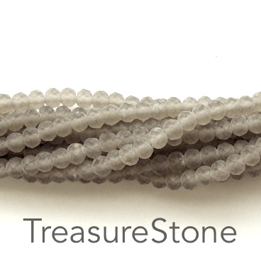 Bead, crystal, light tan, matt, 3x4mm rondelle, 18-inch