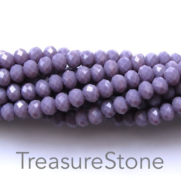 Bead, crystal, lavender, 4x6mm rondelle, 17.5-inch