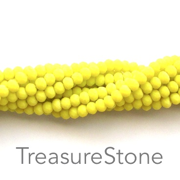 Bead, crystal, lemon, matt, 3x4mm rondelle, 18-inch