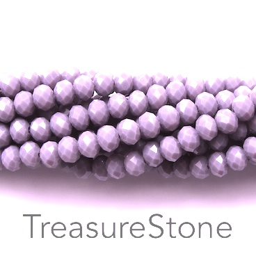 Bead, crystal, light lavender, 4x6mm rondelle, 17.5-inch