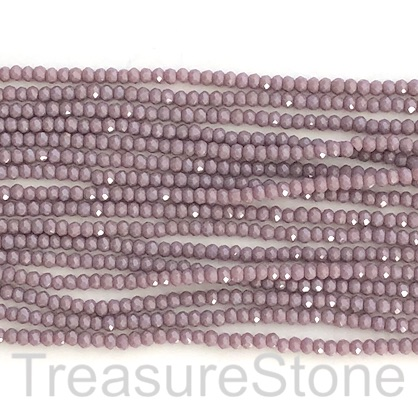 Bead, crystal, mid purple, 2x3mm faceted rondelle. 17""