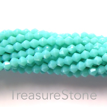 Bead, crystal, mint, 4mm bicone. 19-inch strand