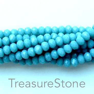 Bead, crystal, mint green, 3x4mm rondelle, 18-inch