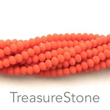 Bead, crystal, neon orange, matte, 3x4mm rondelle, 18-inch
