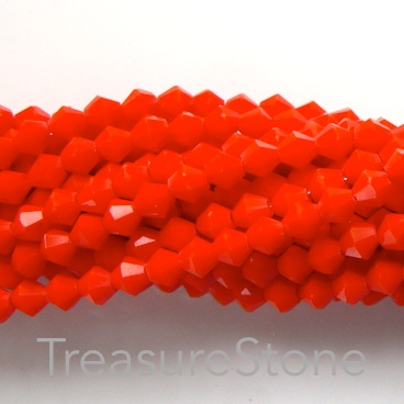 Bead, crystal, neon red, 4mm bicone. 18-inch strand