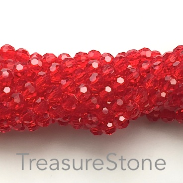 Bead, crystal, red, 6mm round, 21.5 inch