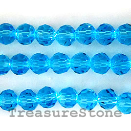 Bead, crystal, blue, 6mm round, 21.5 inch