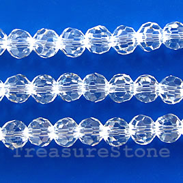 Bead, crystal, clear, 4mm round, 15 inch