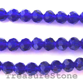 Bead, crystal, cobalt blue, 6mm round. 21.5 inch
