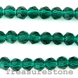 Bead, crystal, emerald, 4mm round,13 inch