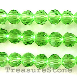Bead, crystal, green, 4mm round,11 inch