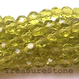 Bead, crystal, peridot, 4mm faceted round, 13-inch