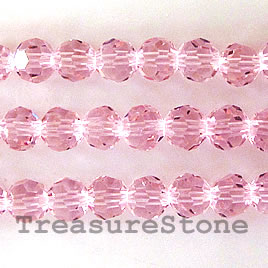 Bead, crystal, pink, 6mm round, 22.5-inch