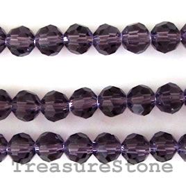 Bead, crystal, purple, 4mm round, 14-inch