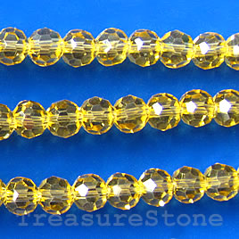 Bead, crystal, topaz, 4mm round,13 inch