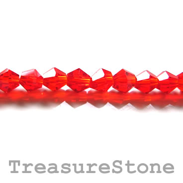 Bead, crystal, red, 4mm faceted bicone. 17.5 inch strand