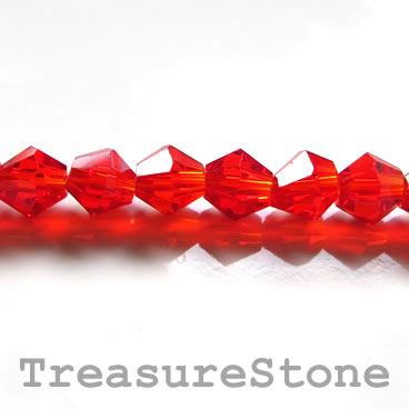 Bead, crystal, red, 6mm faceted bicone. 12 inch.