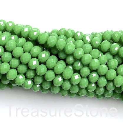 Bead, crystal, apple green, 6x8mm rondelle, 16-inch, 65pcs
